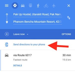 Send map to phone link on Google Maps.